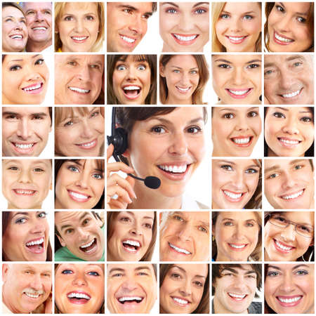 Faces of smiling people. Teeth care. Smile Stock Photo - 8555118