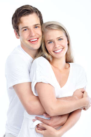 mouth couple: Happy smiling couple in love. Over white background