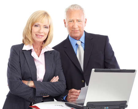 Business people working with laptop. Isolated over white background   photo