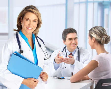 psychiatrist: Medical doctor and young couple patients.