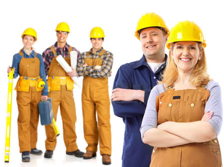 Industrial contractors workers people. Isolated over white background Stock Photo - 8555068