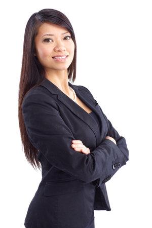 businesswoman suit: Mujer de negocios sonriente. Aislados sobre fondo blanco  Foto de archivo