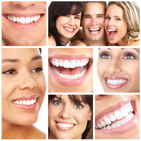 Faces of smiling people. Teeth care. Smile 스톡 콘텐츠
