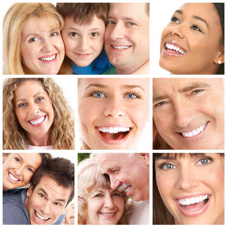 Faces of smiling people. Teeth care. Smile Stock Photo - 8592087