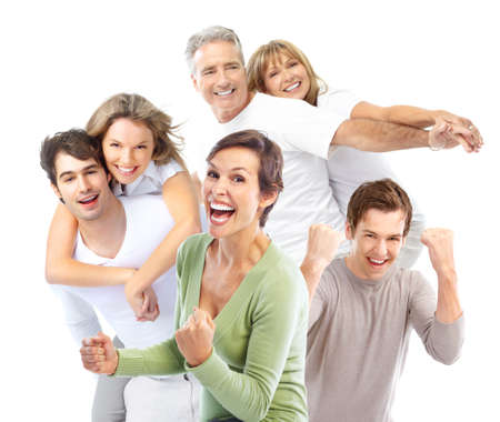 Happy smiling people. Over white background  photo
