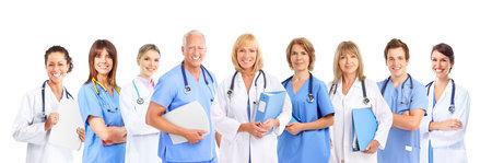 orvosok: Smiling medical doctors with stethoscopes. Isolated over white background