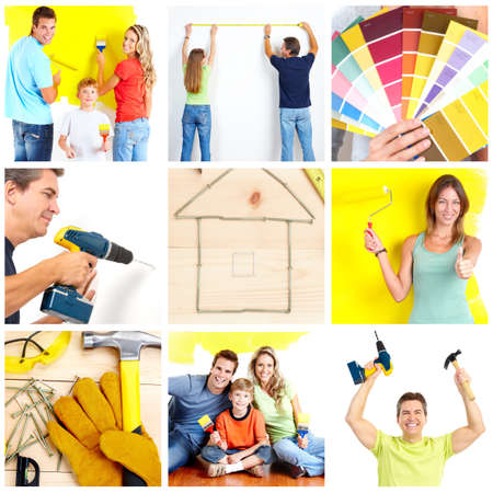 improvement: Family doing renovation at home Stock Photo