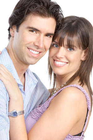 Happy smiling couple in love. Over white background Stock Photo - 8592062
