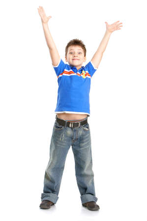 children  play: Funny jumping boy. Isolated over white background