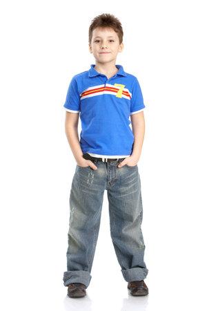 blue background: Funny smiling boy. Isolated over white background