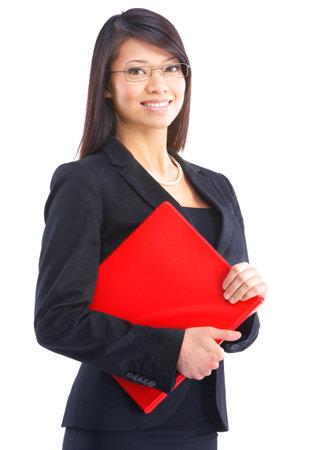 sexy secretary: Mujer de negocios sonriente. Aislados sobre fondo blanco