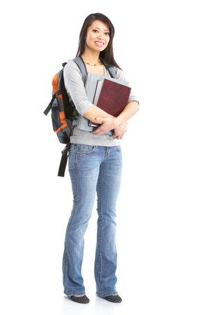 笑みを浮かべて学生女性。白い背景の上 写真素材
