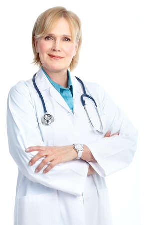 Smiling medical doctor woman with stethoscope. Isolated over white background Stock Photo - 8605351