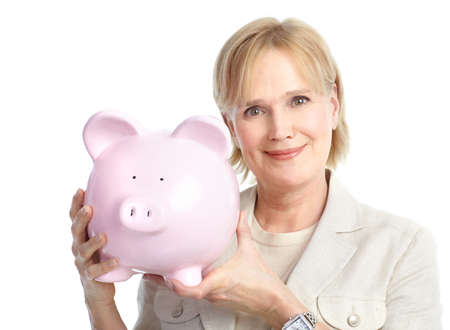 Woman with a pig bank. Isolated over white background Stock Photo - 8605356