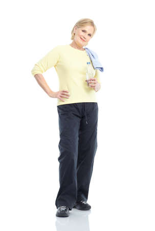 working woman: Gym & Fitness. Smiling elderly woman. Isolated over white background  Stock Photo