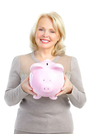 Woman with a pig bank. Isolated over white background Stock Photo - 8616888
