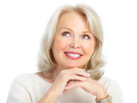 Smiling happy elderly woman. Isolated over white background Stock Photo - 8616895