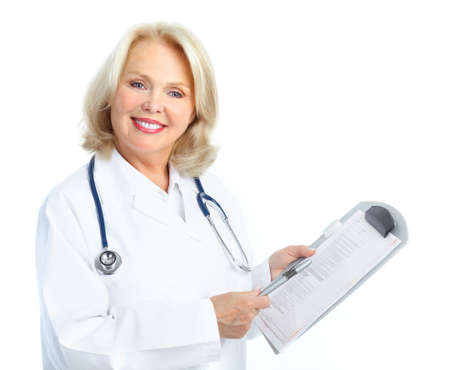 Smiling medical doctor woman with stethoscope. Isolated over white background Stock Photo - 8616886