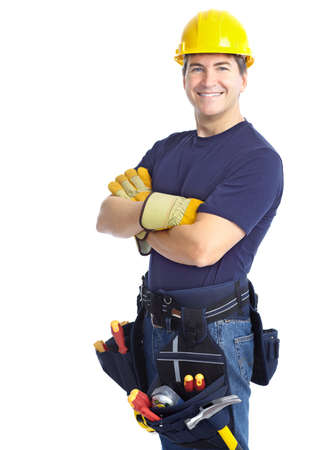 builders: Handsome smiling contractor. Isolated over white background