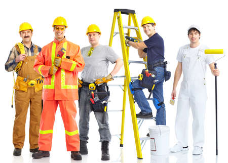 contractors workers people. Isolated over white background  photo