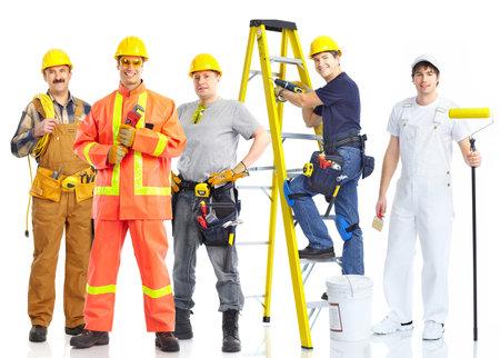 trabajadores: personas de los trabajadores de contratistas. Aislados sobre fondo blanco