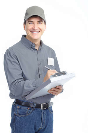 factory worker: Mature handsome worker. Isolated over white background