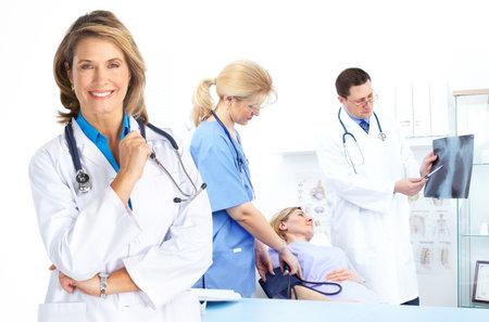 女性患者、医師。 写真素材