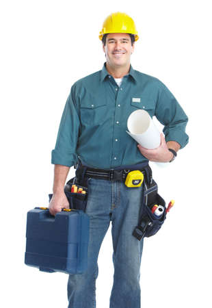 contractors: Handsome smiling contractor. Isolated over white background