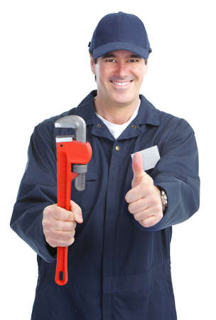 Mature handsome plumber worker with adjustable wrench. Isolated over white background