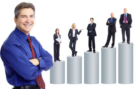 Business people team and graph. Isolated over white background photo