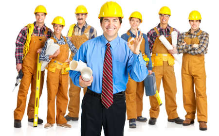 perforate: Industrial contractors workers people. Isolated over white background  Stock Photo