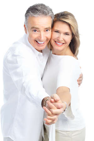 Seniors couple in love. Isolated over white background Stock Photo - 8678616