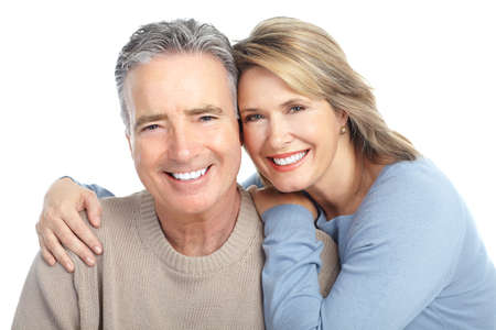 smiling teeth: Seniors couple in love. Isolated over white background  Stock Photo