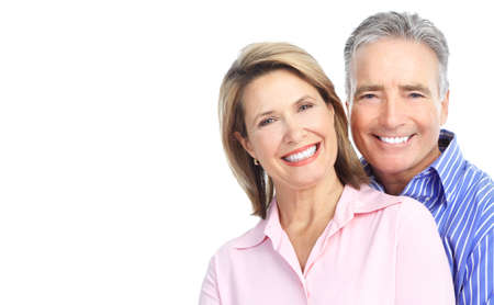 a young old couple: Seniors couple in love. Isolated over white background  Stock Photo
