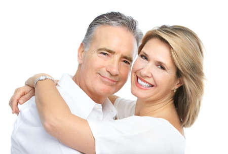 Seniors couple in love. Isolated over white background  photo