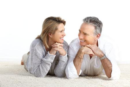 Happy elderly seniors couple at home Stock Photo - 8678711