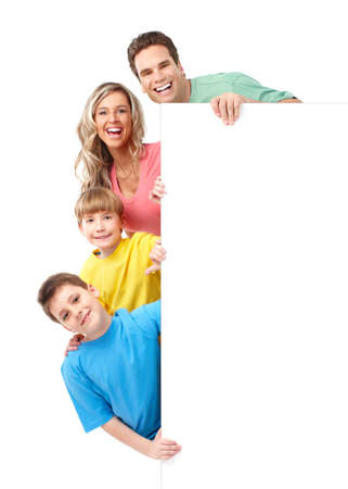 plackard: Happy family. Father, mother and children. Over white background