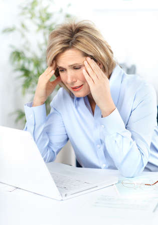 depressive: business woman  having stress in the office  Stock Photo