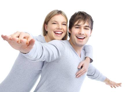 Happy glimlachend paar verliefd. Op witte achtergrond