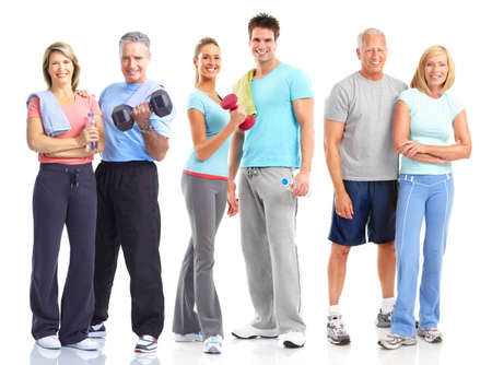 Gym, Fitness, healthy lifestyle. Smiling people. Over white background  photo