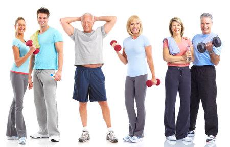 Fitnessruimte, Fitness, gezonde levens stijl. Glimlachende mensen. Op witte achtergrond  Stockfoto - 8678710