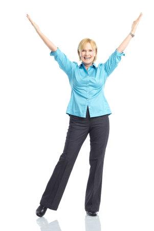euforia: Mujer feliz. Aislados sobre fondo blanco