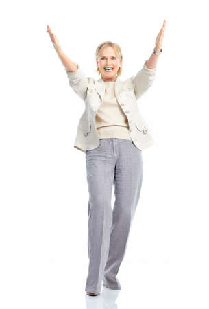 Happy woman. Isolated over white background photo