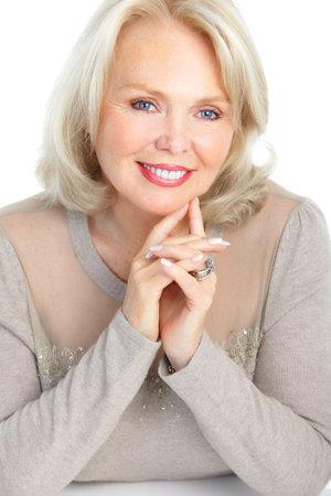 Smiling happy elderly woman. Isolated over white background Stock Photo - 8735973