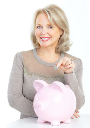 a lot of money: Woman with a pig bank