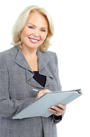 older women: Smiling business woman. Isolated over white background