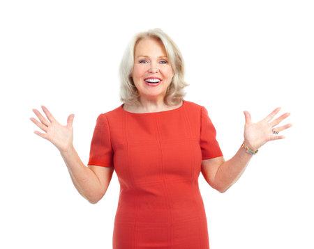 Happy woman. Isolated over white background 版權商用圖片