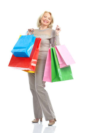 Shopping happy  elderly woman. Isolated over white background  Stock Photo