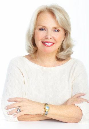 Lächelnd, glücklich ältere Frau. Isolated over white background Standard-Bild - 8735943