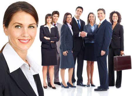 employer: Group of business people. Business team. Isolated over white background